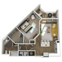 Floor Plan A4- One Bed - One Bath, opens a dialog