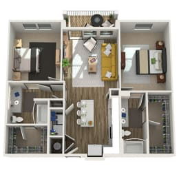 Floor Plan B1 - Two Bed - Two Bath, opens a dialog