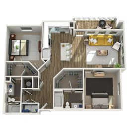 Floor Plan B2 - Two Bed - Two Bath, opens a dialog
