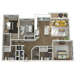 Floor Plan C1 - Three Bed - Two Bath, opens a dialog