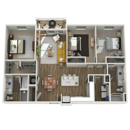 Floor Plan C2 - Three Bed - Two Bath, opens a dialog
