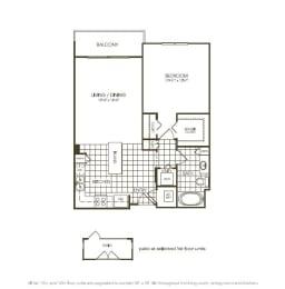 One Bedroom Floorplan illustration, opens a dialog