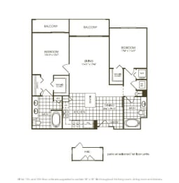 Two Bedroom Floor plan with complete kitchen area in plantation florida, opens a dialog
