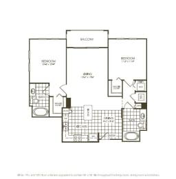 Two Bedroom Floor plan top view