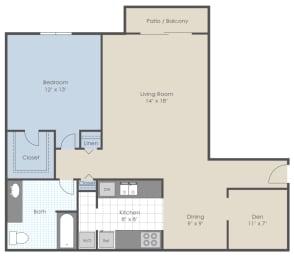 Floor Plan 1 Bed 1 Bath + Den