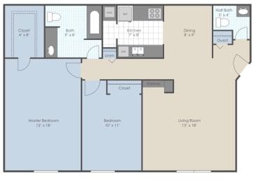 Floor Plan 2 Bed 1.5 Bath B