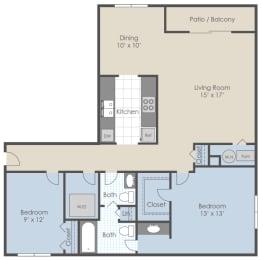 Floor Plan 2 Bed 1.5 Bath D