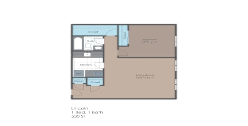 One bedroom floorplan layout, opens a dialog
