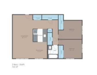 Two bedroom floorplan layout, opens a dialog