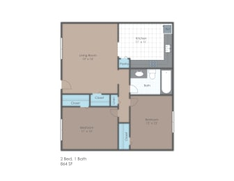 Two bedroom, one bathroom two-dimensional floor plan.