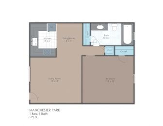 Floor Plan 1 BR 1 Bath