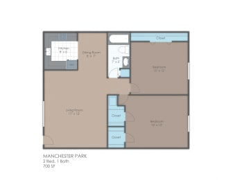 Floor Plan 2 BR 1 Bath A