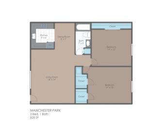 Floor Plan 2 BR 1 Bath B