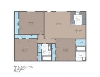 Floor Plan 3 BR 2 Bath