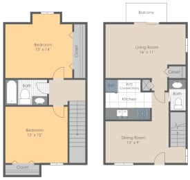 Floor Plan 2 BR 1.5 Bath Townhome