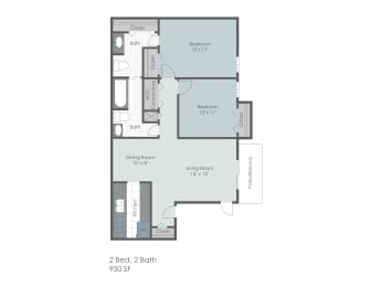 Two bedroom, two bathroom two dimensional floor plan., opens a dialog