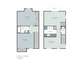 Two bedroom, one and a half town home two dimensional floor plan., opens a dialog