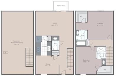 Floor Plan 2 Bedroom 2.5 Bathrooms