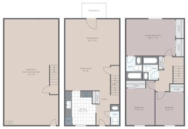 Floor Plan 3 Bedroom 2.5 Bathrooms