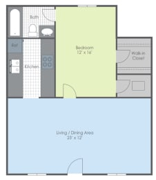 Floor Plan One Bed - Southwind