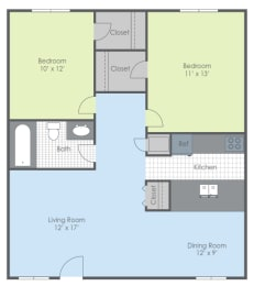 Floor Plan Two Bed - Southwind B