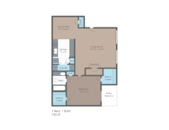 One bedroom apartment floor plan layout, opens a dialog