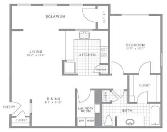 A2 Solarium Floor Plan at AVE Somerset, Somerset, New Jersey