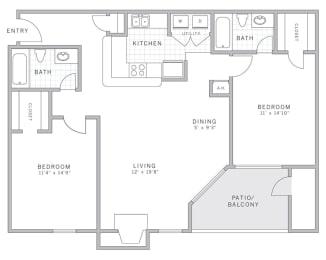 B1 Floor Plan at AVE Malvern, Malvern, PA, 19355