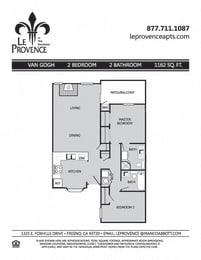 Van Gogh, Downstairs Floor Plan at Le Provence at the Dominion, Fresno, California