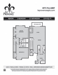 Renoir, Townhouse Floor Plan at Le Provence at the Dominion, California