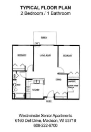 Floor Plan 2 Bedroom 1 Bathroom