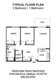 Floor Plan 2 Bedroom  1.5 Bathroom