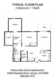 Floor Plan 2 Bedroom-1 Bath C