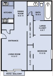 Floor Plan Renovated 1 Bed | 1 Bath