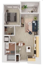 A1-a - 1 Bedroom 1 Bath Floor Plan Layout - 667 Square Feet