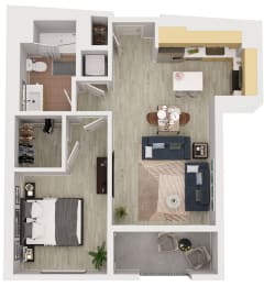 A11 - 1 Bedroom 1 Bath Floor Plan Layout - 639 Square Feet