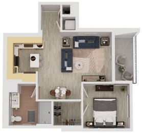 A6  - 1 Bedroom 1 Bath Floor Plan Layout - 643 Square Feet