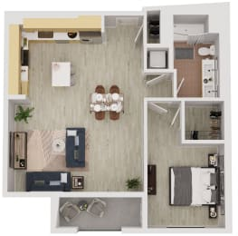 A7 - 1 Bedroom 1 Bath Floor Plan Layout - 809 Square Feet