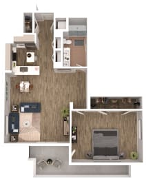 A9 - 1 Bedroom 1 Bath Floor Plan Layout - 1094 Square Feet