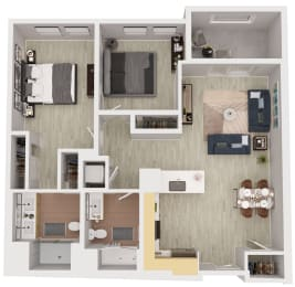 B1-a - 2 Bedroom 2 Bath Floor Plan Layout - 1002 Square Feet