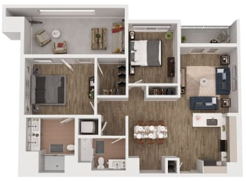 B3 - 2 Bedroom 2 Bath Floor Plan Layout - 1126 Square Feet