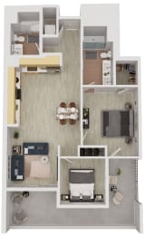 B7 - 2 Bedroom 2 Bath Floor Plan Layout - 1056 Square Feet