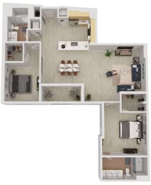 B8 - 2 Bedroom 2 Bath Floor Plan Layout - 1317 Square Feet