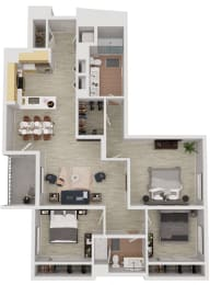 C1 - 3 Bedroom 2 Bath Floor Plan Layout - 1354 Square Feet