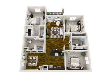 Apex 3 Bedroom Floor Plan 3D