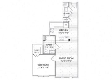 Crest Floor Plan One Bedroom One Bathroom Apartment