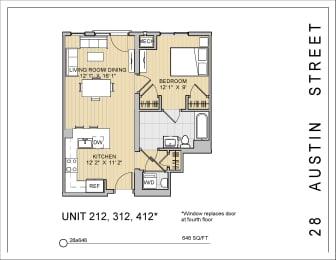 1 Bed 1 Bath 28a646 Floor Plan at 28 Austin St, Massachusetts