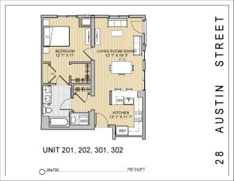 1 Bed 1 Bath 28a700 Floor Plan at 28 Austin St, Newton, MA