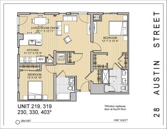 2 Bed 2 Bath 28b1097 Floor Plan at 28 Austin St, Newton, Massachusetts