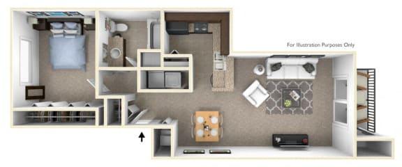 1-Bed/1-Bath, Coneflower Floor Plan at Killian Lakes Apartments and Townhomes, Columbia, South Carolina